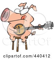 Royalty Free RF Clip Art Illustration Of A Cartoon Pig Sitting On A Stool And Playing A Banjo by Ron Leishman