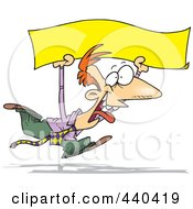 Cartoon Happy Businessman Running With A Blank Banner