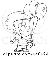 Royalty Free RF Clip Art Illustration Of A Cartoon Black And White Outline Design Of A Birthday Boy Holding Three Balloons