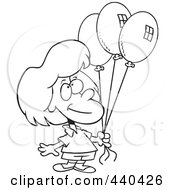 Royalty Free RF Clip Art Illustration Of A Cartoon Black And White Outline Design Of A Birthday Girl Holding Three Balloons