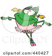 Royalty Free RF Clip Art Illustration Of A Cartoon Dancing Ballerina Frog by toonaday