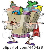 Royalty Free RF Clip Art Illustration Of A Cartoon Woman Carrying Heavy Grocery Bags