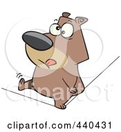 Royalty Free RF Clip Art Illustration Of A Cartoon Nervous Bear Walking A Tight Rope