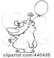 Royalty Free RF Clip Art Illustration Of A Cartoon Black And White Outline Design Of A Birthday Bear Holding A Balloon