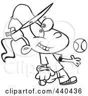 Royalty Free RF Clip Art Illustration Of A Cartoon Black And White Outline Design Of A Tomboy Girl Tossing And Catching A Baseball by toonaday