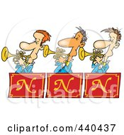 Royalty Free RF Clip Art Illustration Of A Cartoon Trumpet Band by toonaday