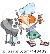Royalty Free RF Clip Art Illustration Of A Cartoon Woman Holding A Spice Grinder By Her Bbq