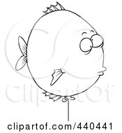 Royalty Free RF Clip Art Illustration Of A Cartoon Black And White Outline Design Of A Balloon Fish