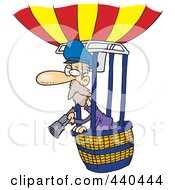 Royalty Free RF Clip Art Illustration Of A Cartoon Balloonist Using A Telescope by Ron Leishman