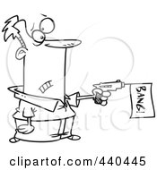Royalty Free RF Clip Art Illustration Of A Cartoon Black And White Outline Design Of A Man Shooting A Bang Banner Out Of A Gun