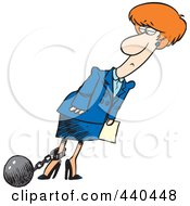 Cartoon Businesswoman Pulling A Ball On A Shackle And Chain