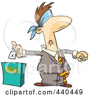 Cartoon Blindfolded Man Putting His Vote Into A Ballot Box
