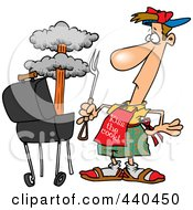 Royalty Free RF Clip Art Illustration Of A Cartoon Man Watching An Explosion In His Bbq