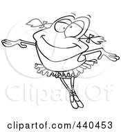 Royalty Free RF Clip Art Illustration Of A Cartoon Black And White Outline Design Of A Dancing Ballerina Frog by toonaday
