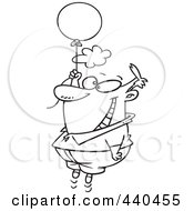 Royalty Free RF Clip Art Illustration Of A Cartoon Black And White Outline Design Of A Happy Man Floating With A Balloon