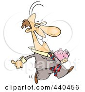 Royalty Free RF Clip Art Illustration Of A Cartoon Businessman Carrying A Piggy Bank by toonaday