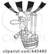 Royalty Free RF Clip Art Illustration Of A Cartoon Black And White Outline Design Of A Balloonist Using A Telescope