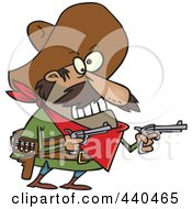 Royalty Free RF Clip Art Illustration Of A Cartoon Mexican Bandito Holding Pistols by toonaday