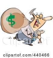 Royalty Free RF Clip Art Illustration Of A Cartoon Businessman Laughing On His Way To The Bank