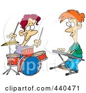 Royalty Free RF Clip Art Illustration Of Cartoon Boys Drumming And Keyboarding In A Band by toonaday