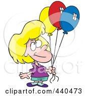 Royalty Free RF Clip Art Illustration Of A Cartoon Birthday Girl Holding Three Balloons