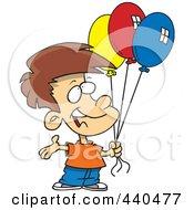 Royalty Free RF Clip Art Illustration Of A Cartoon Birthday Boy Holding Three Balloons