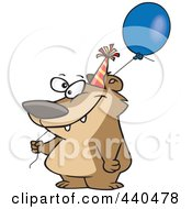 Royalty Free RF Clip Art Illustration Of A Cartoon Birthday Bear Holding A Balloon