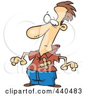 Royalty Free RF Clip Art Illustration Of A Cartoon Man With Bandages Over His Chest
