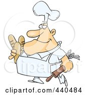 Royalty Free RF Clip Art Illustration Of A Cartoon Male Baker Carrying Bread by Ron Leishman