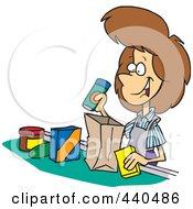 Cartoon Friendly Cashier Bagging Groceries