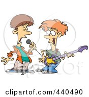Royalty Free RF Clip Art Illustration Of Two Cartoon Boys Singing And Playing A Guitar In A Band by toonaday