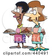 Royalty Free RF Clip Art Illustration Of Cartoon Friendly Ladies At A Bake Sale by toonaday