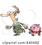 Royalty Free RF Clip Art Illustration Of A Cartoon Businessman Pulling A Piggy Bank In A Wagon by toonaday