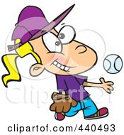 Royalty Free RF Clip Art Illustration Of A Cartoon Tomboy Girl Tossing And Catching A Baseball