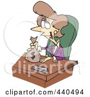 Royalty Free RF Clip Art Illustration Of A Cartoon Female Banker Giving A Loan by toonaday