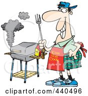 Royalty Free RF Clip Art Illustration Of A Cartoon Man Standing By His Bbq