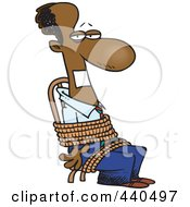 Royalty Free RF Clip Art Illustration Of A Cartoon Black Businessman Gagged And Tied Up To A Chair