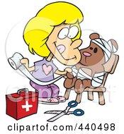 Royalty Free RF Clip Art Illustration Of A Cartoon Girl Bandaging Up Her Teddy Bear
