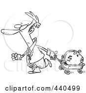 Royalty Free RF Clip Art Illustration Of A Cartoon Black And White Outline Design Of A Businessman Pulling A Piggy Bank In A Wagon