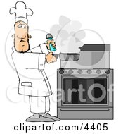 Male Chef Lifting A Smoking Skillet From A Hot Stove Clipart