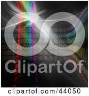 Clipart Illustration Of A Flare Of Light On A Background Of Rainbow Colored Dots And Circles On Black
