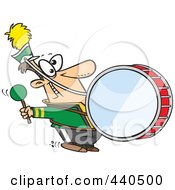 Royalty Free RF Clip Art Illustration Of A Cartoon Marching Band Drummer