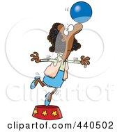 Cartoon Black Businesswoman Balancing A Ball On Her Nose
