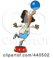 Cartoon Black Businesswoman Balancing A Ball On Her Nose