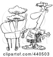 Royalty Free RF Clip Art Illustration Of A Cartoon Black And White Outline Design Of A Man Watching An Explosion In His Bbq