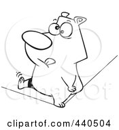 Royalty Free RF Clip Art Illustration Of A Cartoon Black And White Outline Design Of A Nervous Bear Walking A Tight Rope by toonaday