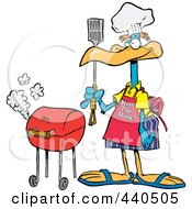 Royalty Free RF Clip Art Illustration Of A Cartoon Bird Standing By His Bbq
