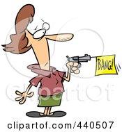 Royalty Free RF Clip Art Illustration Of A Cartoon Woman Shooting A Bang Banner Out Of A Gun