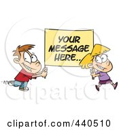 Royalty Free RF Clip Art Illustration Of A Cartoon Boy And Girl Carrying A Sign With Sample Text