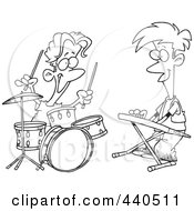 Royalty Free RF Clip Art Illustration Of A Cartoon Black And White Outline Design Of Boys Drumming And Keyboarding In A Band by toonaday